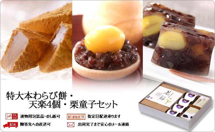 特大本わらび餅・天楽4個・栗童子
